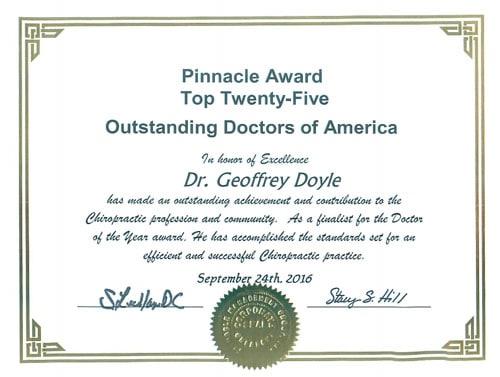 Chiropractor Huntersville NC Geoffrey Doyle award