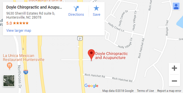 Map of Huntersville NC Chiropractors